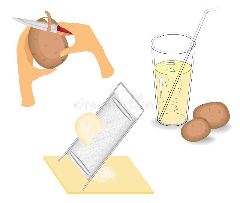 ramassage Les pommes de terre sont épluchées avec un couteau, ont frotté sur une râpe, jus serré Boisson saine Illustration de ve illustration libre de droits