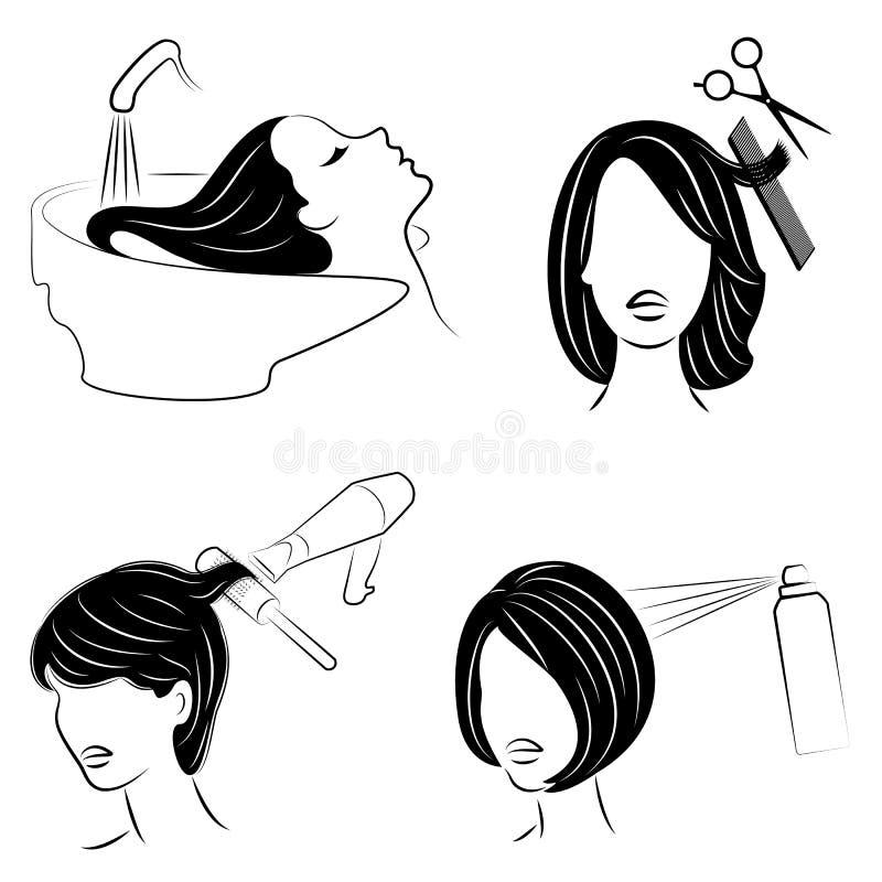 ramassage Madame dans un salon de beaut? La fille fait son cheveu Une femme se lave les cheveux, coupe ses cheveux, sèche son sèc illustration libre de droits