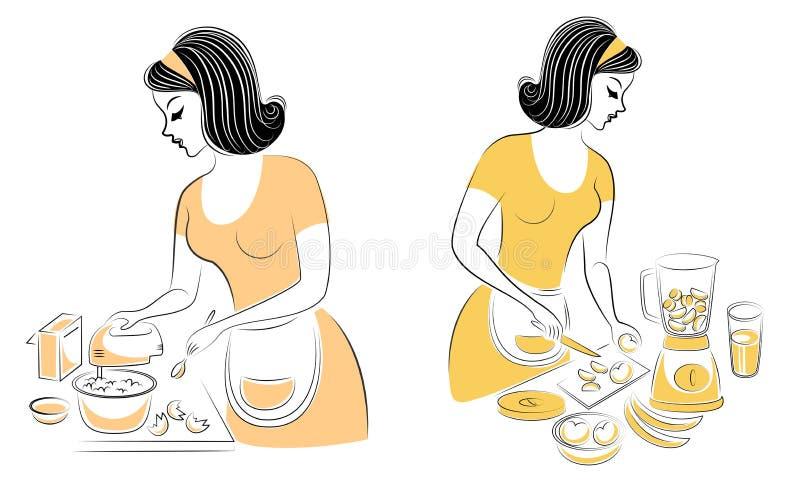 ramassage Profil d'une belle femme La fille pr?pare la nourriture Une femme mélange des produits pour un tarte, faisant le fruit  illustration de vecteur