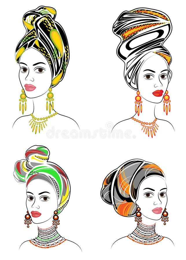 ramassage Silhouette d'une t?te d'une dame douce Un ch?le lumineux, un turban, attach? ? la t?te d'une fille afro-am?ricaine E illustration stock