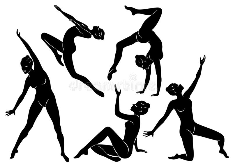 ramassage Silhouette de dame mince Le gymnaste de fille la femme est flexible et gracieux Elle saute Image graphique illustration libre de droits