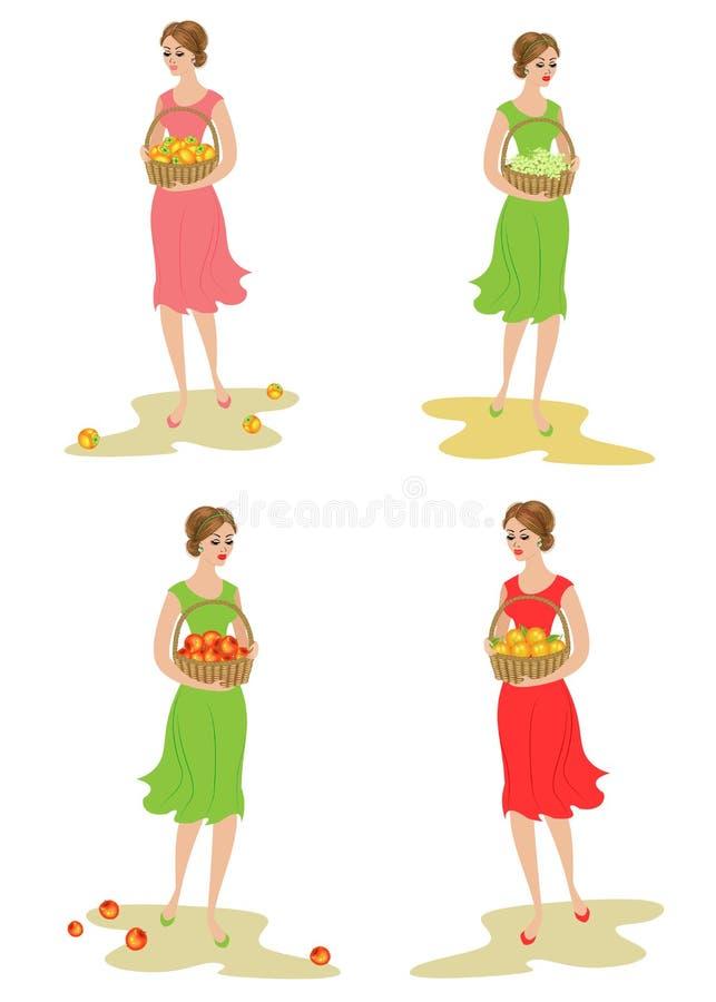 ramassage Une dame douce porte un panier avec des pommes, des kakis, des raisins et des mandarines Fruits mûrs et doux La fille e illustration stock