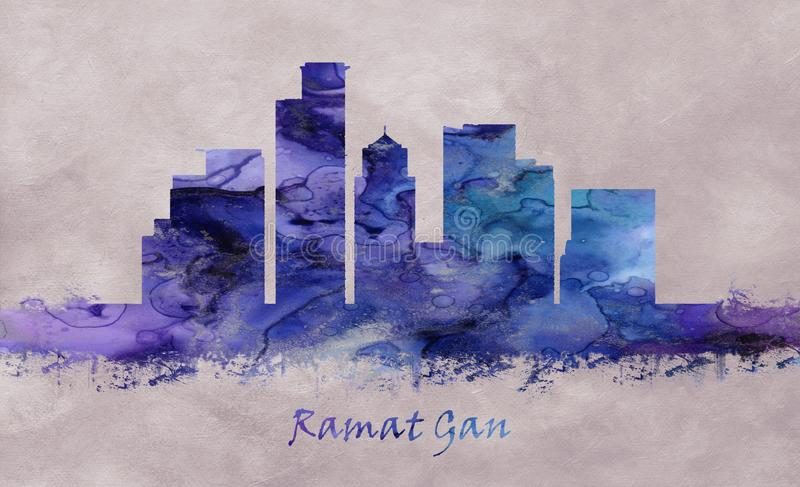 Ramat Gan City en Israël, horizon illustration stock