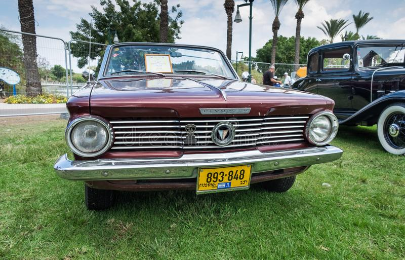 Plymouth Valiant 1964 presented on annual oldtimer car show, Israel royalty free stock image