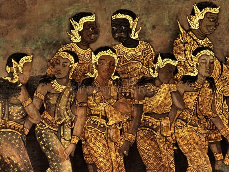 Ramayana壁画,外籍人作战神和虚构物在国王宫殿曼谷,泰国墙壁上  图库摄影