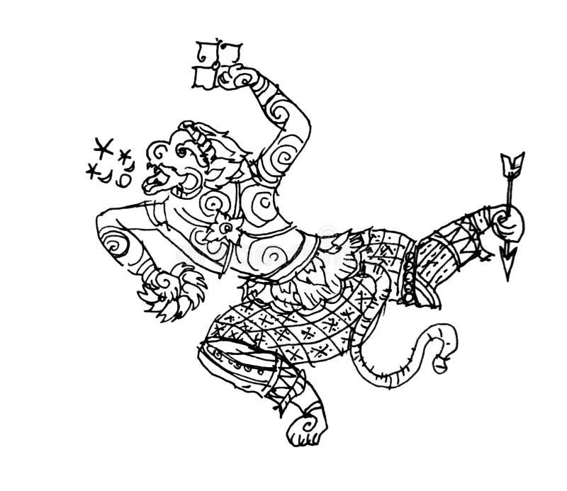 Ramayana apa, Hanuman, thai konstteckning stock illustrationer