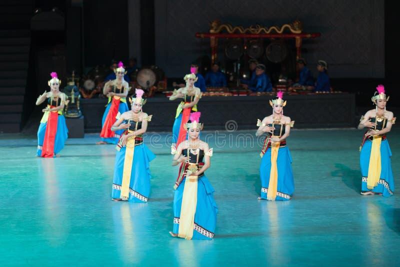 Ramayana balett på på Prambanan, Indonesien arkivfoton