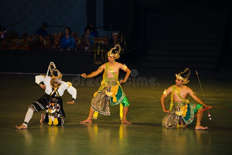 Ramayana Ballet at at Prambanan, Indonesia. YOGYAKARTA, INDONESIA - SEP 12: Ramayana Ballet show at Prambanan temple on SEP 12, 2012 in Yogyakarta, Indonesia. It royalty free stock photography