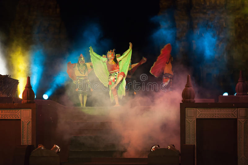 Ramayana Ballet at at Prambanan, Indonesia. YOGYAKARTA, INDONESIA - SEP 12: Ramayana Ballet show at Prambanan temple on SEP 12, 2012 in Yogyakarta, Indonesia. It stock photography