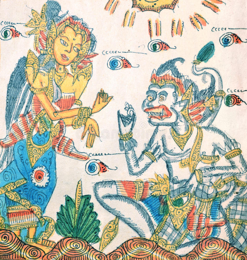 Download Ramayana Paintings On The Cloth, Bali Stock Image - Image of decoration, handcraft: 27746019