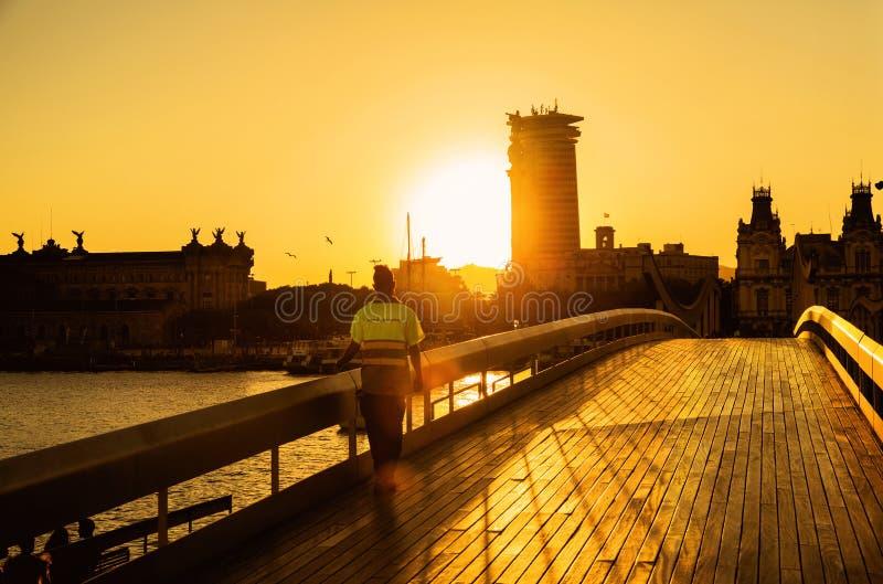 Rambla Del Mar в Барселоне стоковые фото