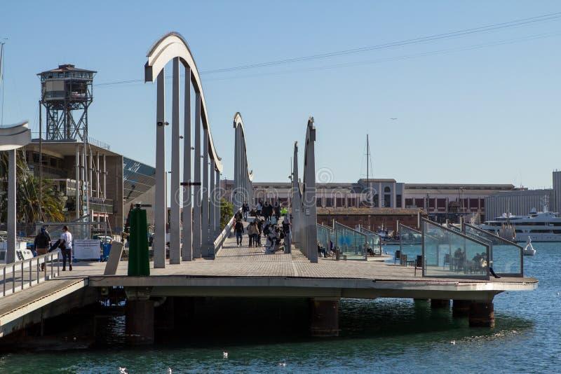 Rambla Del Mar, современный мост в Барселоне стоковое фото rf