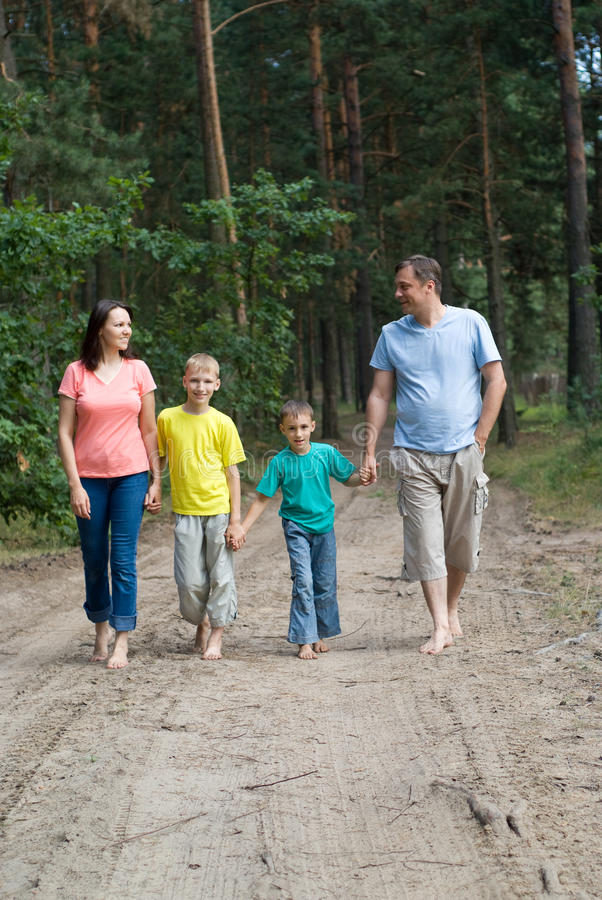 Rambling family in the forest royalty free stock photo