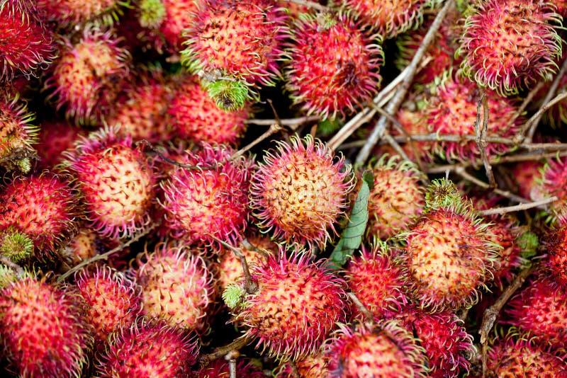 Rambutan. Market piled with fresh rambutan royalty free stock image