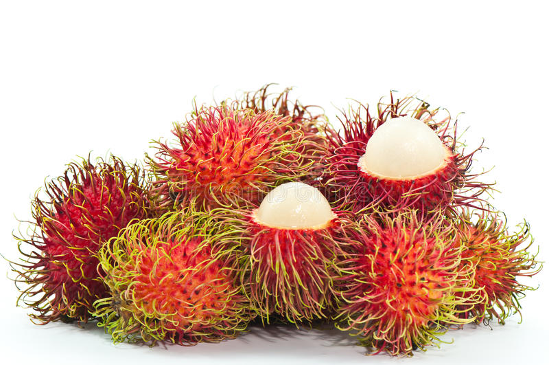 Rambutan. Tropical fruit rambutan on white background stock photos