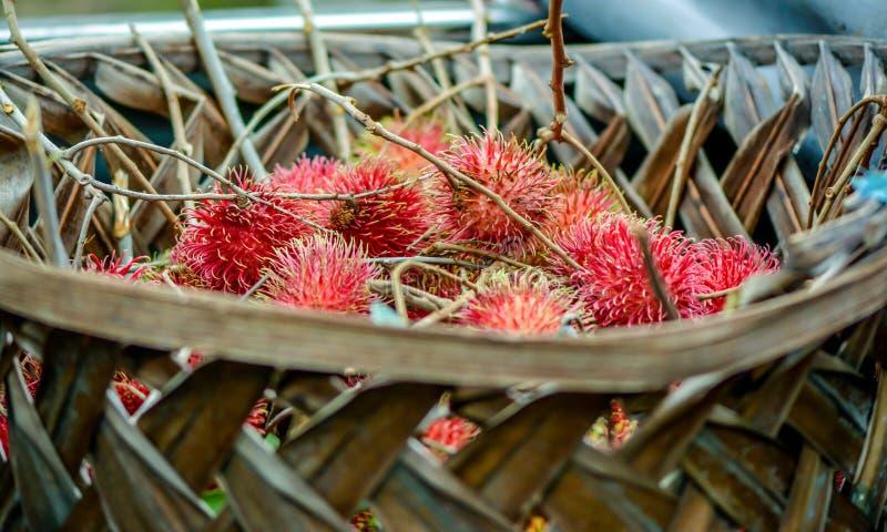 Rambutan. A basket of Rambutan fruit royalty free stock photo