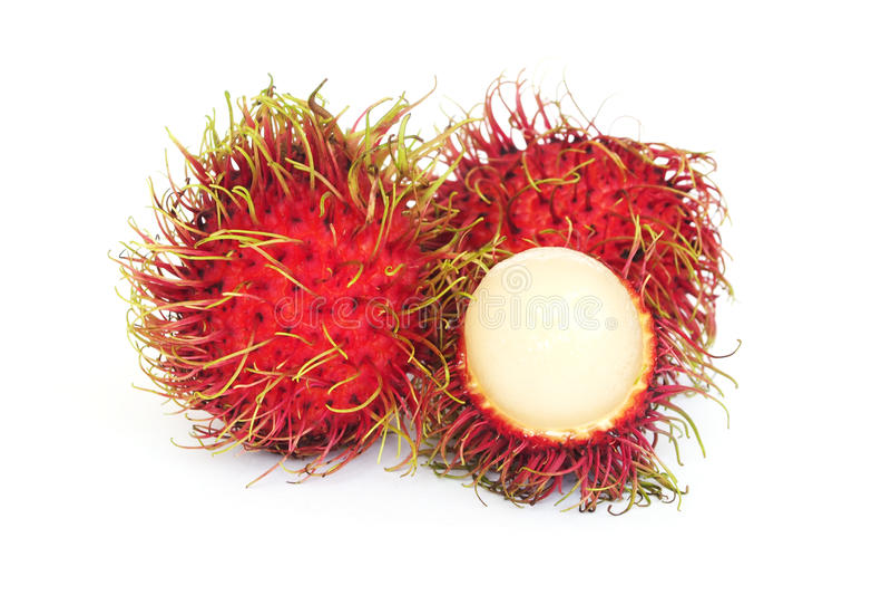 Rambutan. Fresh rambutan on white background stock photo