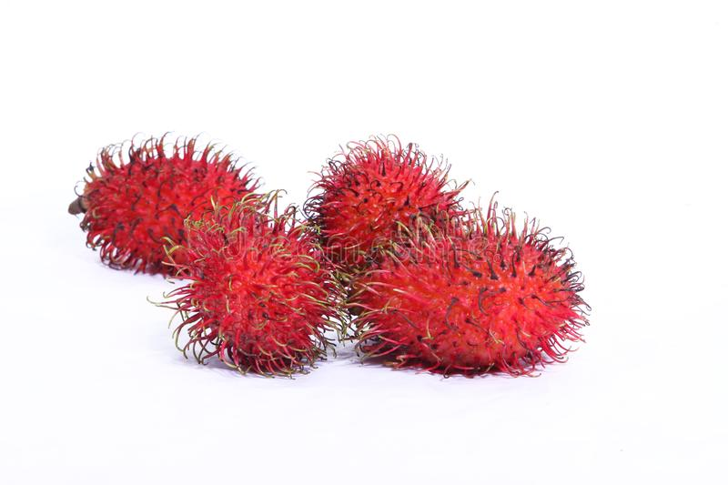 Rambutan fruit. Fresh rambutan fruit isolate on white background. Rambutan is an important fruit tree of humid tropical Southeast Asia stock photo