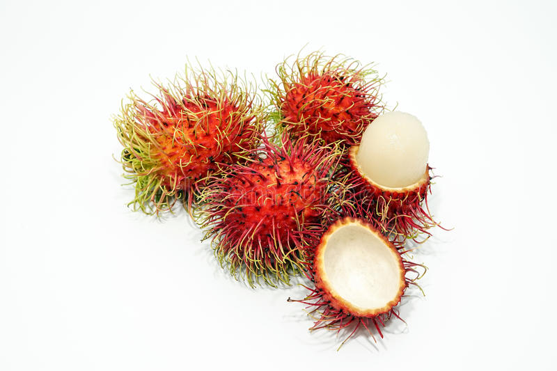 Rambutan. Fruit is placed on a white background stock photography