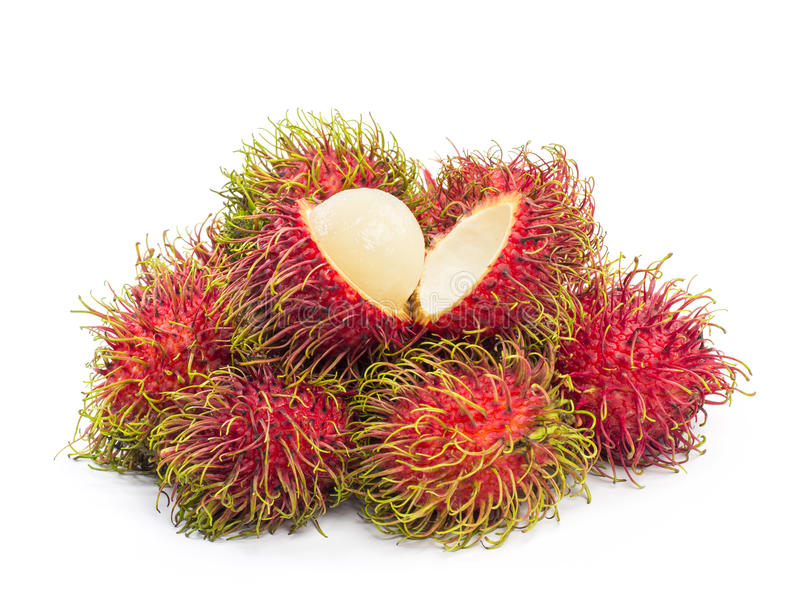 Rambutan. Fruit on white background royalty free stock images