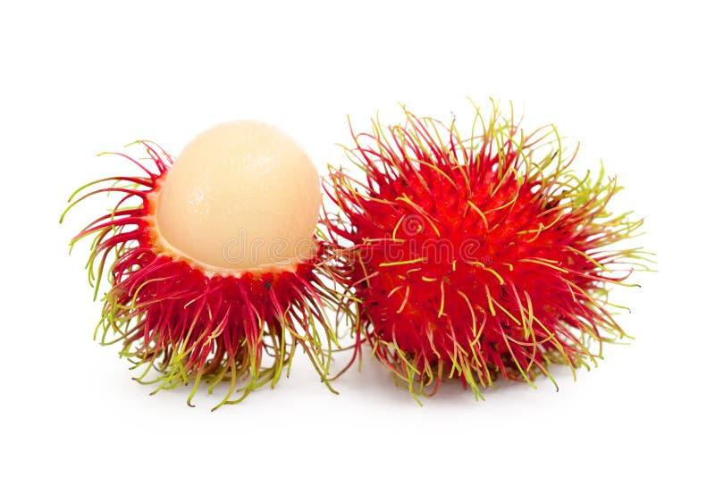 Rambutan fruits. Isolated on white royalty free stock images