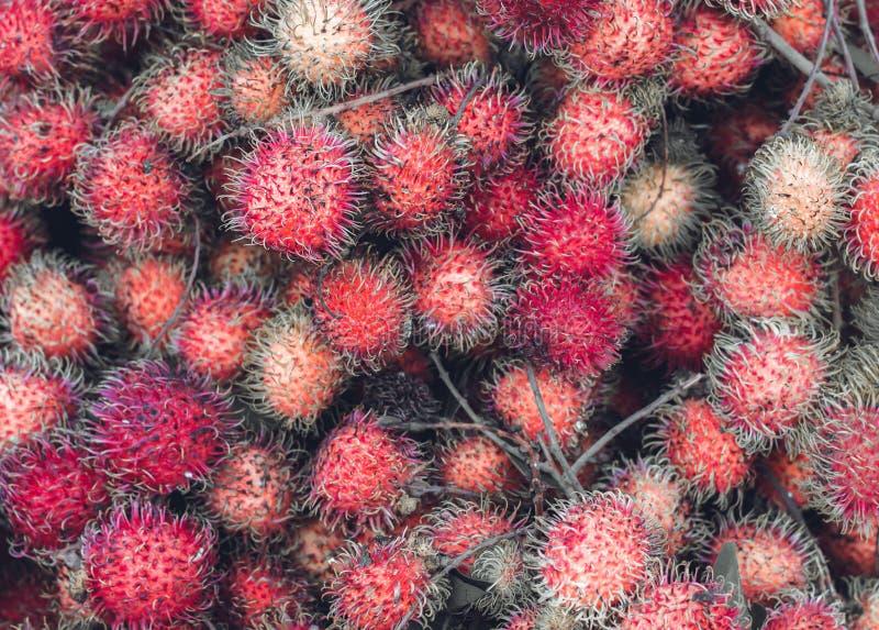 The fruits of rambutan lie in a heap stock photo