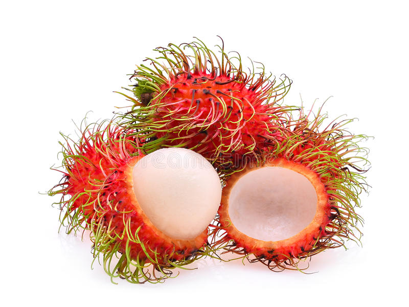 Rambutan, fruto tropical no branco fotografia de stock