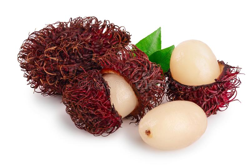 Rambutan with leaves isolated on white background. Tropical fruit. Nephelium lappaceum stock photography
