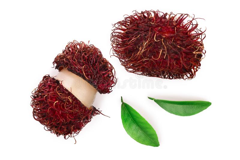 Rambutan with leaves isolated on white background. Tropical fruit. Nephelium lappaceum. Top view. Flat lay stock photography