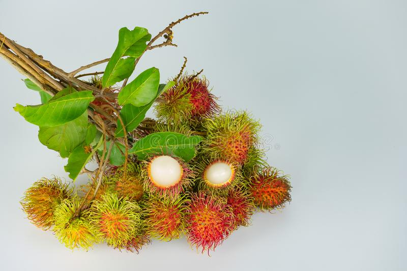 Rambutan , red hairy skin sweet. And delicious fruit. tear incomplete leaves and small branch on white background, thai famous tropical fruit royalty free stock photography