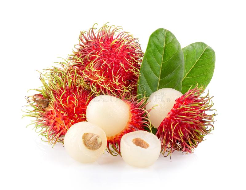 Rambutan sweet delicious fruit with leaf isolated on white background. Full depth of field stock photo