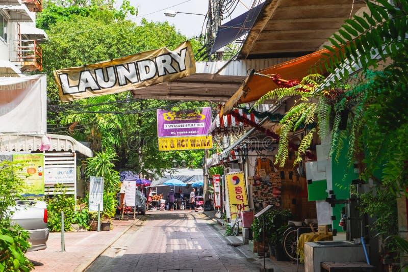 Rambuttri alley - popular street in Bangkok, Thailand stock photography