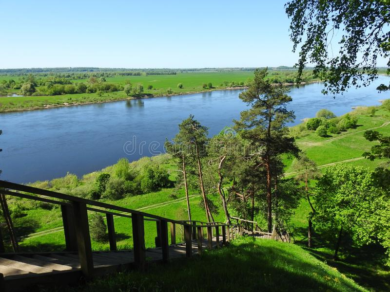 View from Rambynas hill in river Nemunas, Lithuania stock image