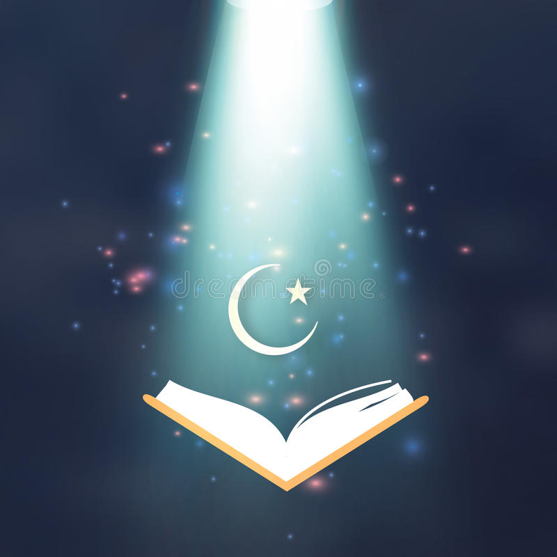 Ramdan Kareem. Quran. Crescent Moon. Star. Holy month of muslim. Symbol of Islam. Vector illustration stock illustration