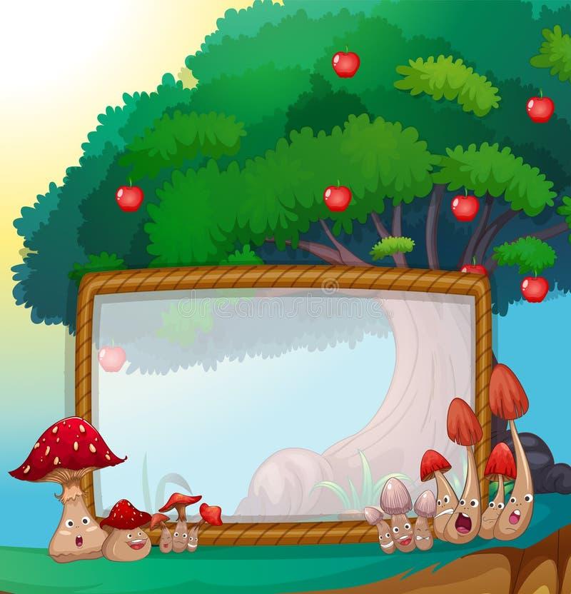Ramdesign med champinjoner och äppleträdet vektor illustrationer