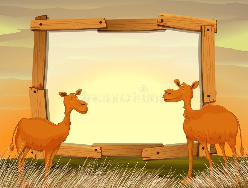 Ramdesign med kamel i fältet royaltyfri illustrationer