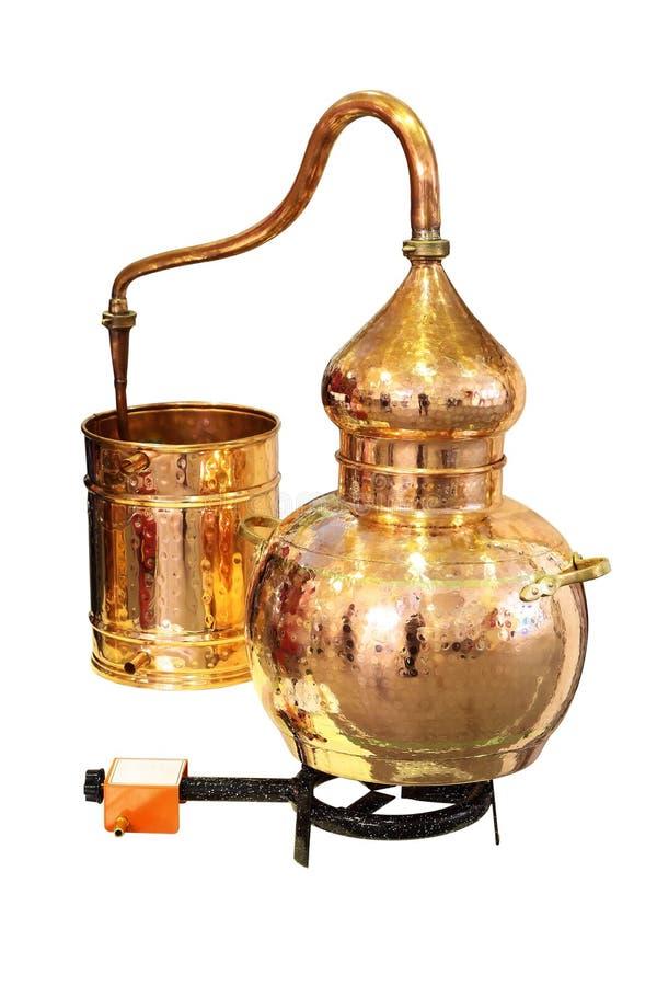 Rame di alambicco - apparecchiatura di distillazione immagini stock libere da diritti