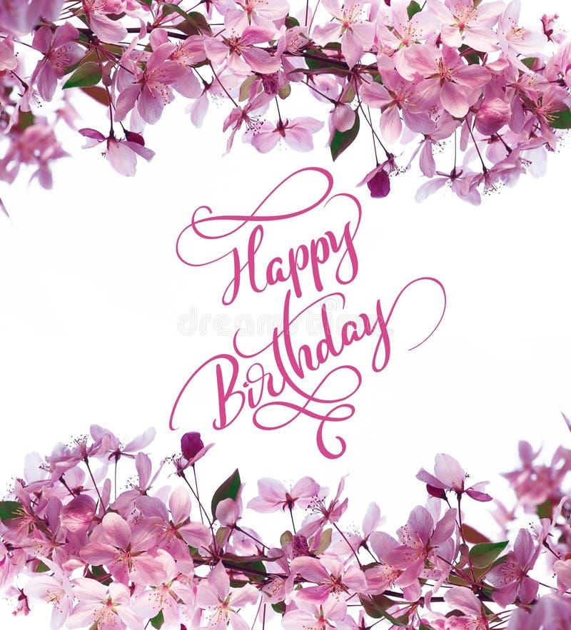 Ramen av våren blommar på den lyckliga födelsedagen för trädet och för text, kalligrafibokstäver royaltyfri illustrationer
