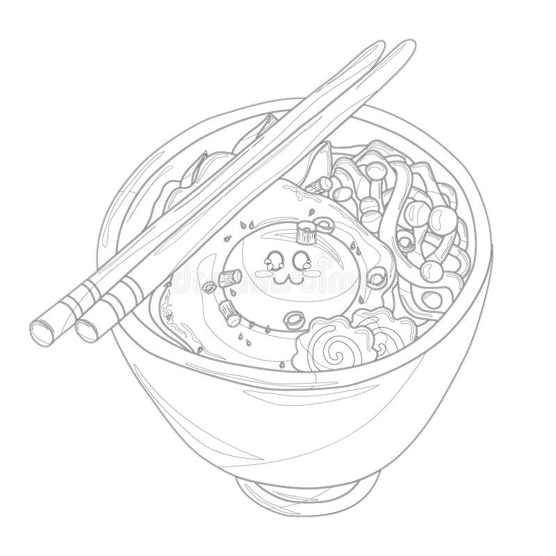 Ramen bowl with egg with cute face and fish cakes in black and white royalty free illustration