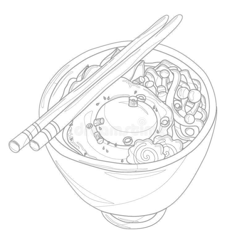 Ramen bowl with egg and fish cakes coloring page stock illustration