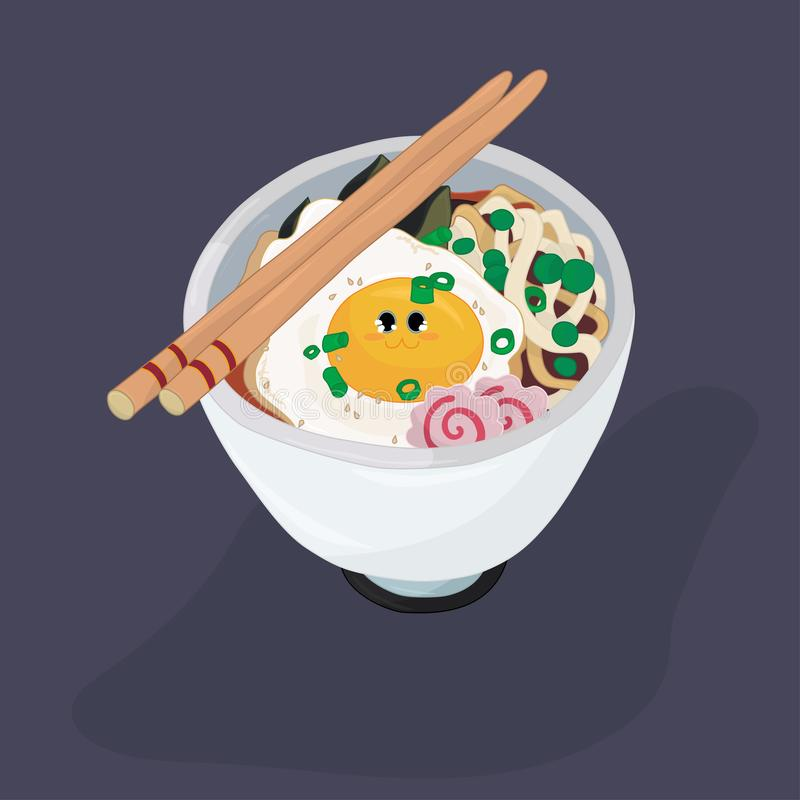 Ramen bowl with egg and fish cakes coloring page vector illustration