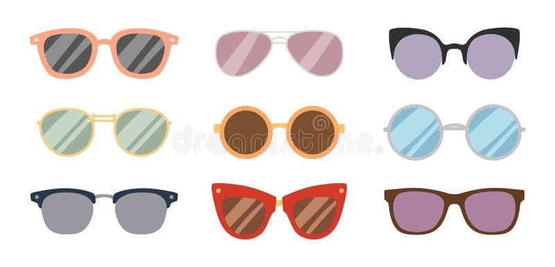 Ramen för åtföljande för solen för modesolglasögon rullar med ögonen den plast- anblickar för exponeringsglas den moderna glasögo vektor illustrationer