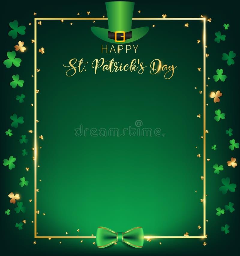 Ramen för dagen för St Patrick ` s innehåller den vertikala den gröna bästa hatten över den guld- gränsen stock illustrationer