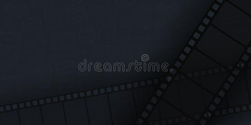 Ramen för samlingsfilmremsan drar förestående klotterbakgrund Gammalt biobaner med bandrulle royaltyfri illustrationer