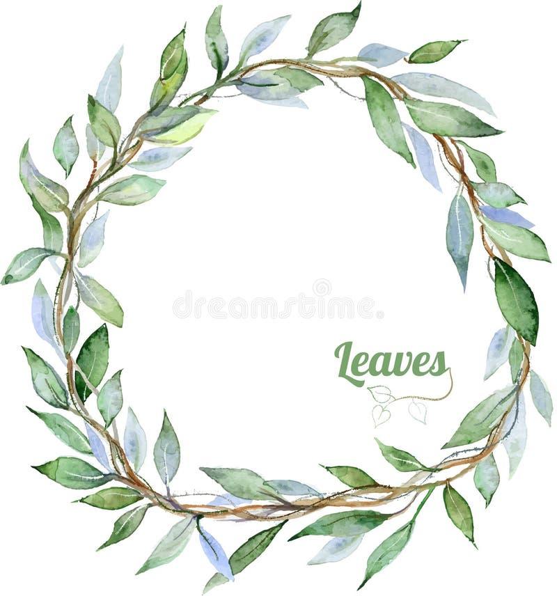 ramen inramniner leavesnaturserie stock illustrationer