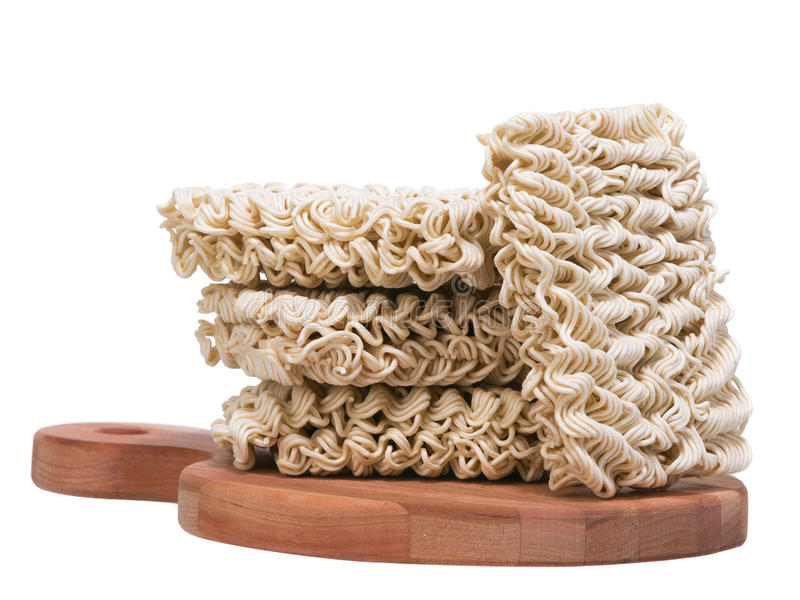Download Ramen Instant Raw Noodles On Wooden Plank 3/4 Stock Photo - Image: 28680030