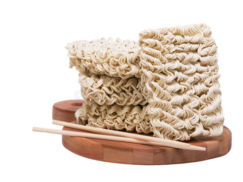 Download Ramen Instant Raw Noodles On Wooden Plank 3/4 With Chopsticks Stock Image - Image: 33162531