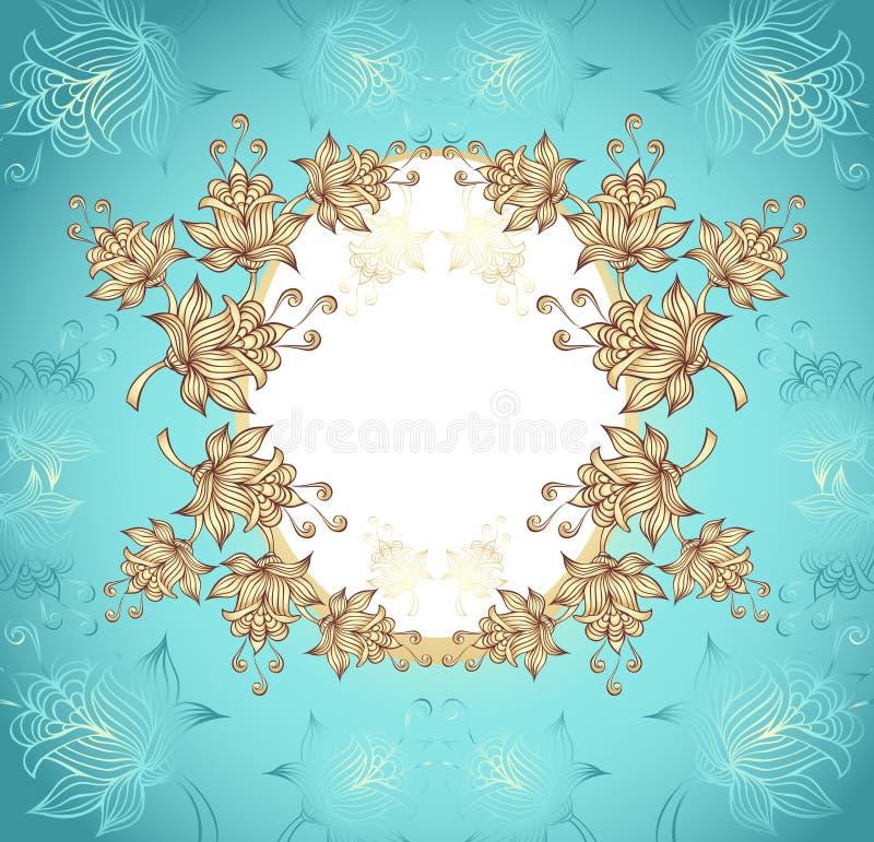 Ramen med abstrakt begrepp blommar på blå bakgrund royaltyfri illustrationer