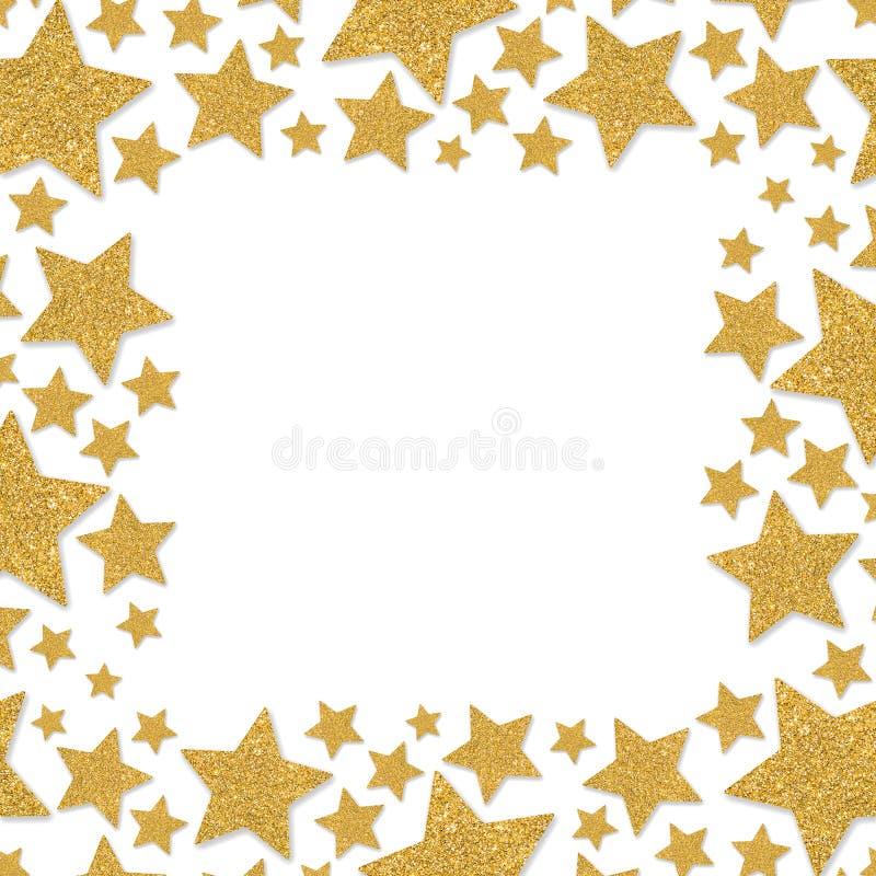 Ramen med skimrar stjärnor Guld- gnistranderam av stjärnan Gula konfettier fotografering för bildbyråer