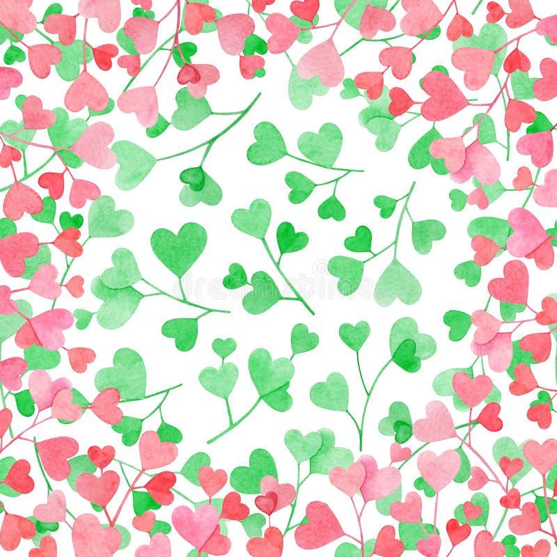 Ramen med vattenfärgfilialer med rosa hjärta formade sidor på vit bakgrund med gröna hjärtor royaltyfri illustrationer